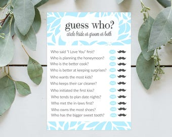 Guess Who Bridal Shower Printable Game Instant Download - Blue, Bride, Groom, Lips, Mustache