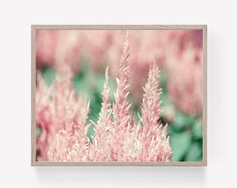 Pink Floral Digital Print, Pink Floral Printable, Pink Botanical Print, Greenery Wall Art, Pink Flower Photograph, Instant Download
