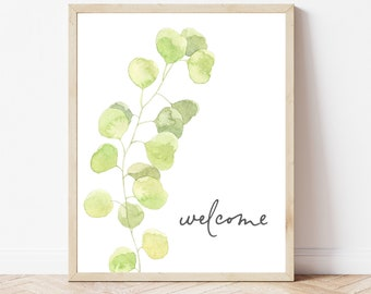 Welcome Botanical Printable, Welcome Sign, Welcome Wall Art, Green Botanical Print, Entry Wall Decor, Entryway Sign, Instant Download Print
