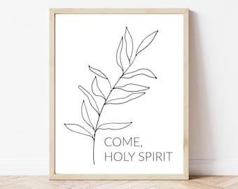 Come Holy Spirit Printable, Catholic Printable, Religious Print, Botanical Faith Printable, Minimal Catholic Home Decor, Catholic Wall Art
