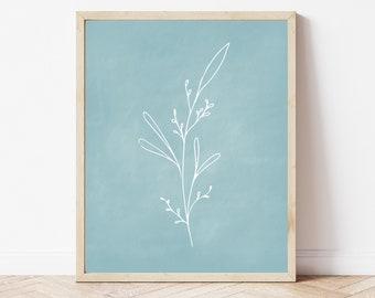Botanical Printable, Blue Chalkboard Printable, Plant Print, Coastal Wall Art, Minimalist Print, Office Wall Decor, Gallery Wall Print