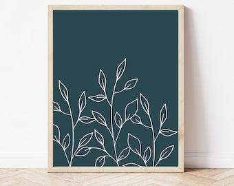 Botanical Printable, Navy Plant Print, Teal Botanical Print, Modern Wall Art, Minimalist Print, Office Wall Decor, Gallery Wall Print