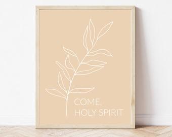 Come Holy Spirit Printable, Pink Catholic Printable, Religious Print, Botanical Faith Printable, Minimal Catholic Home Decor, Catholic Art