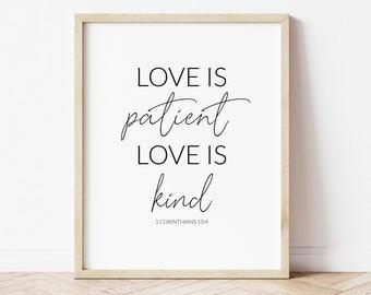 Love is Patient Printable, Love is Kind Print, Corinthians 13:4 Wall Art, Bible Verse Printable, Religious Art Print, Catholic Wall Art,