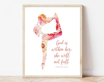 Psalms 46:5 Dance Printable, Floral Ballet Printable, Instant Download, She Will Not Fall Print, Girls Room Print, Floral Dancer Print