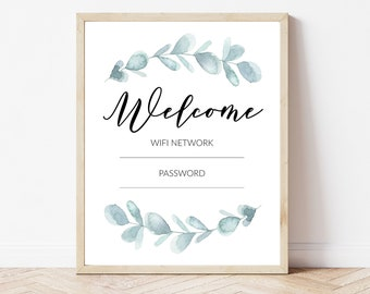 WiFi Password Printable, Decorative WIFI Sign, WiFi Guest Room Wall Art, Guest Room Sign, Botanical WiFi Printable, Guest WiFi Print
