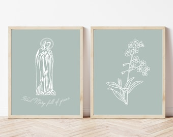 Blessed Mother Printable, Flowers Printable, Minimalist Set of 2 Printables, Hail Mary Full of Grace Catholic Printable, Religious Wall Art