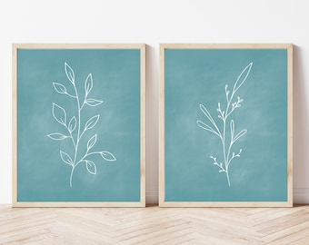 Botanical Chalkboard Printables, Set of 2 Prints, Blue Chalkboard Prints, Plant Prints, Floral Printables, Minimalist Prints, Plant Wall Art