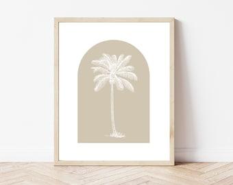 Palm Tree Printable, Arch Printable, Greige Artwork, Botanical Print, Coastal Print, Coastal Wall Art, Palm Tree Wall Art, Tropical Print