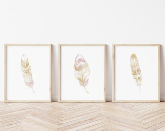 Set of Three Boho Feather Printable, Instant Download, Purple and Gold Feather Print, Bohemain Print, Nursery Print,Boho Feather Print