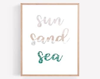 Sun Sand Sea Printable, Beach Printable, Coastal Print, Beachy Wall Art, Minimalist Printable, Ocean Printable, Beach House Home Decor