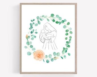 Mary holding Baby Jesus Printable, Faith Printable, Religious Print, Catholic Wall Art, Christian Printable, Eucalyptus Wreath Printable