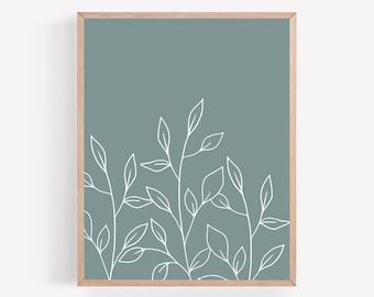 Botanical Printable, Seafoam Color Print, Plant Print, Coastal Cottage Wall Art, Minimalist Print, Office Wall Decor, Gallery Wall Print