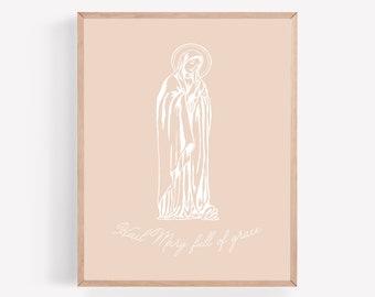Hail Mary Full of Grace Printable, Hail Mary Print, Religious Printable, Blessed Mother Print, Catholic Wall Art, Catholic Home Decor