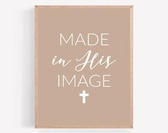Made in His Image Printable, Cross Crucifix Print, Mauve Catholic Print, Religious Wall Art, Jesus Wall Decor, Christian Faith Wall Art,