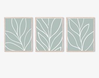 Blue Abstract Botanical Printables, Set of 3 Prints, Closeup Leaves Prints, Botanical Printable, Minimalist Wall Art, Simple Modern Prints