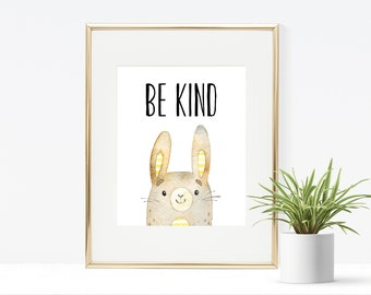Be Kind Bunny Printable, Instant Download, Nursery Print, Nursery Artwork, Woodland Print, Animal Print, Bird Printable, Playroom Printable