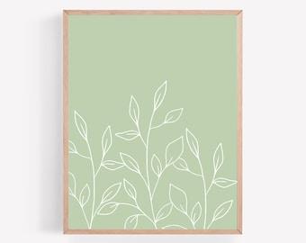 Green Botanical Printable, Sage Plant Print, Light Green Plant Wall Art, Minimalist Print, Botanical Office Wall Decor, Gallery Wall Print