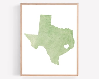 Green Texas Printable, Texas Heart Print, Watercolor Texas Decor, State Wall Art, Texas Home Decor, Houston Printable, State Printable