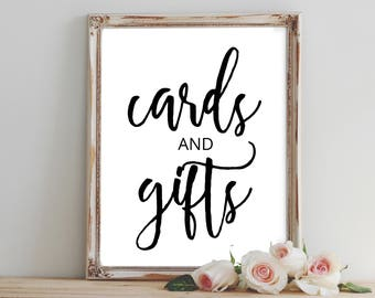 Cards and Gifts Sign Printable, Wedding Sign, Bridal Shower Sign, Party Sign, Wedding Decor, Bridal Party Decor, Card Sign, Instant Download