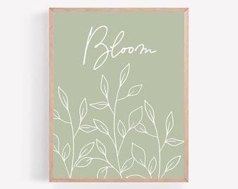 Green Bloom Printable, Sage Botanical Print, Plant Printable, DIY Wall Art, Spring Home Decor, Home Office Wall Art, Green Nursery Print