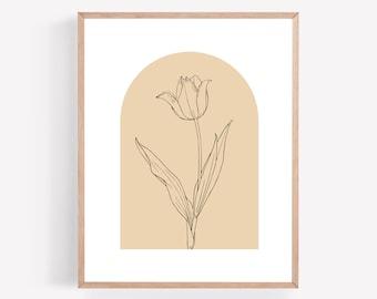 Mauve Flower Arch Printable, Pink Botanical Wall Art, Boho Plant Print, Instant Download, Simple Plant Print, Leaves Plant Wall Art