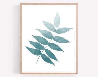 Blue Botanical Printable, Navy Branch Print, Watercolor Wall Art, Farmhouse Printable, Minimal Print, Plant Wall Art, Ombre Printable