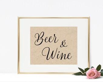 Beer & Wine Printable - Wedding Bar Printable, Wedding Printable, Instant Download