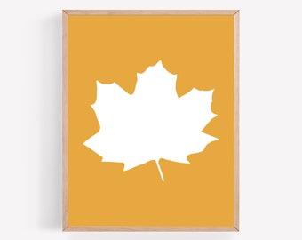 Fall Leaf Printable, Fall Leaf Print, Autumn Leaf Print, Autumn Printable, Mustard Fall Printable, Simple Fall Wall Art, Minimalist Fall