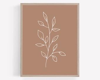 Mauve Botanical Printable, Mauve Plant Wall Art, Greenery Print, Modern Nursery Print, Girls Nursery Wall Decor, Pink Plant Printable