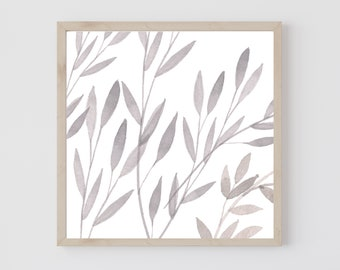 Greenery Square Printable, Botanical Print, Watercolor Wall Art, Minimalist Printable, Simple Wall Art, Living Room Wall Art, Plant Wall Art