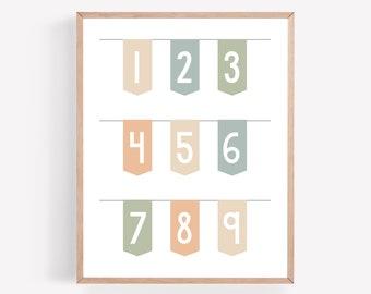 Numbers Printable, School Room Print, Play Room Artwork, Numbers Printable, School Room Wall Art, Learning Printable, 123 Banner Printable