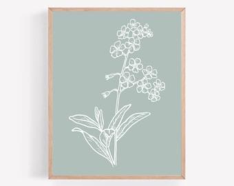 Blue Gray Flower Printable, Sage Plant Print, Light Green Blossom Wall Art, Minimalist Print, Botanical Office Wall Decor, Bloom Wall Print