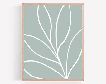 Blue Abstract Leaf Printable,  Closeup Leaves Print, Blue Botanical Printable, Minimalist Wall Art, Abstract Printable, Simple Modern Prints