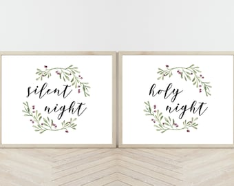 Silent Night Holy Night Printables, Set of 2 Prints, Christmas Printables, Christmas Wall Art, Farmhouse Christmas Prints,Holiday Home Decor