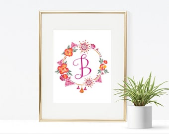 Initial Boho Printable - Instant Download, Pink Flower Print, B Printable, Initial Wall Art, 8x10,5x7, 4x6, Pink Girly Printable, Wall Decor