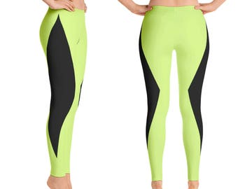 Leggings - Neon Green and Black, Workout Leggings, Neon Yoga Pants, Womens Activewear, Blacklight Spin Clothes, Lime, Flourescent Yellow