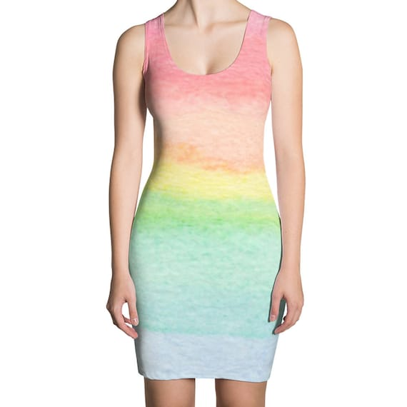 01e55267875c0 Pastel Rainbow Dress for Women, Rainbow Colored Dresses, Women's Rainbow  Dress, Ombre Rainbow Clothing, Colorful Bodycon Dress, Tight Bright