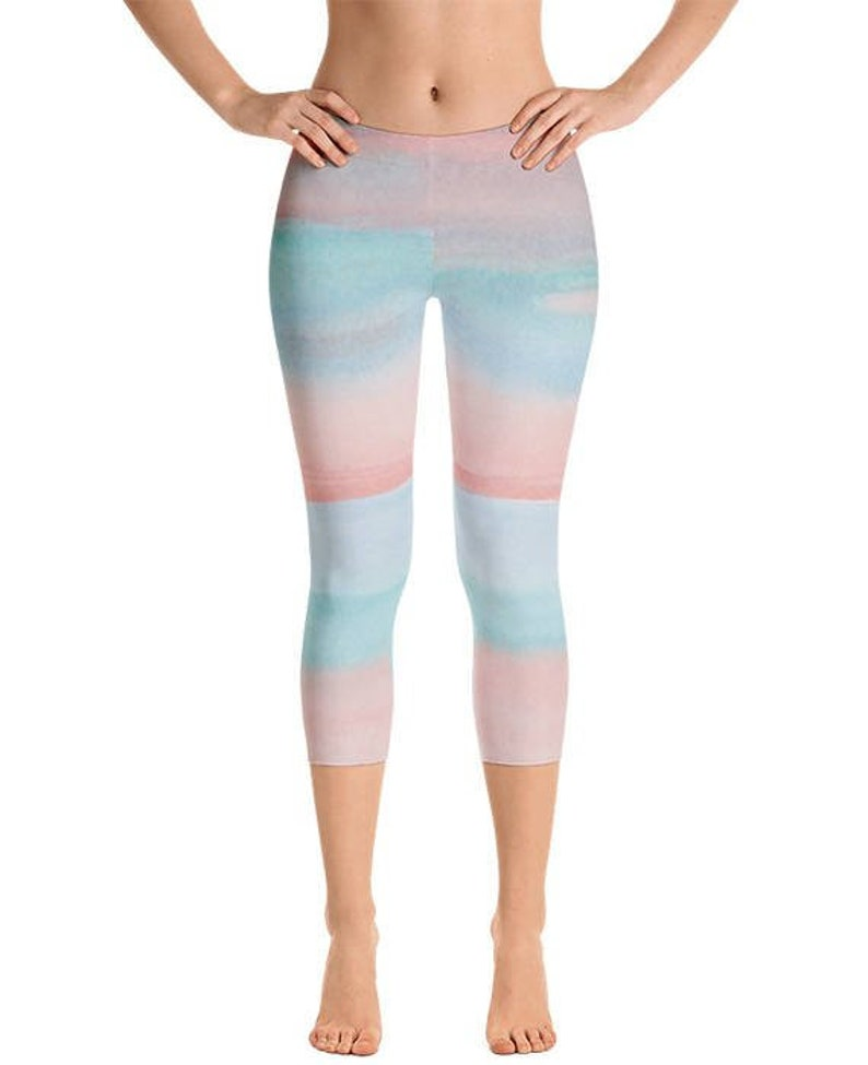 a4851b9e988e Capri Yoga Pants Pink Blue Workout Leggings Capri Gym
