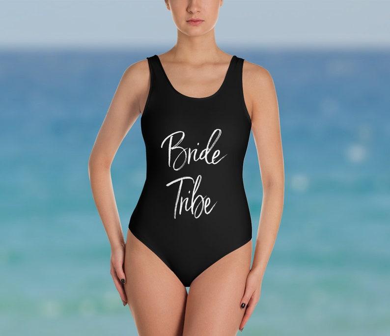 1df0f4b580c Bride Tribe Swimsuit One Piece Custom Bachelorette | Etsy