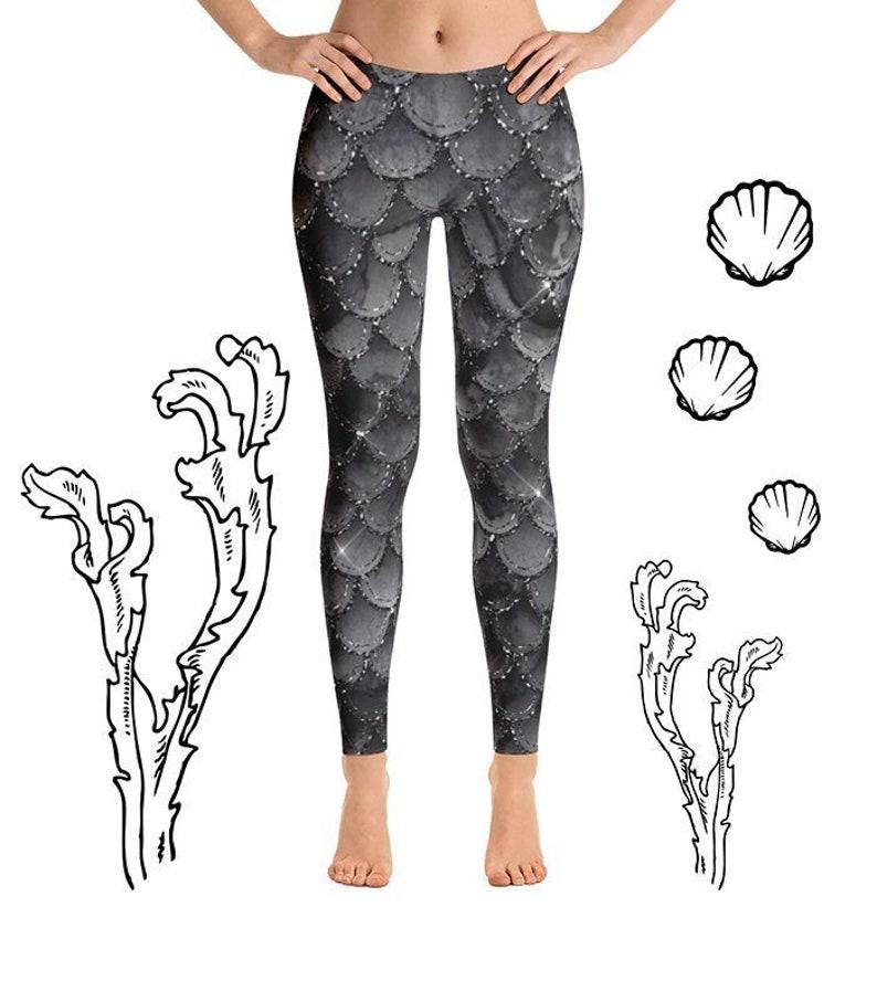 f21657c38743f6 Black Mermaid Leggings Women Dragon Scale Leggings Dark | Etsy