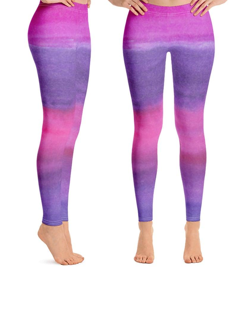 257d5a2240f96 Purple Ombre Leggings Yoga Pants Pink and Purple Yoga   Etsy
