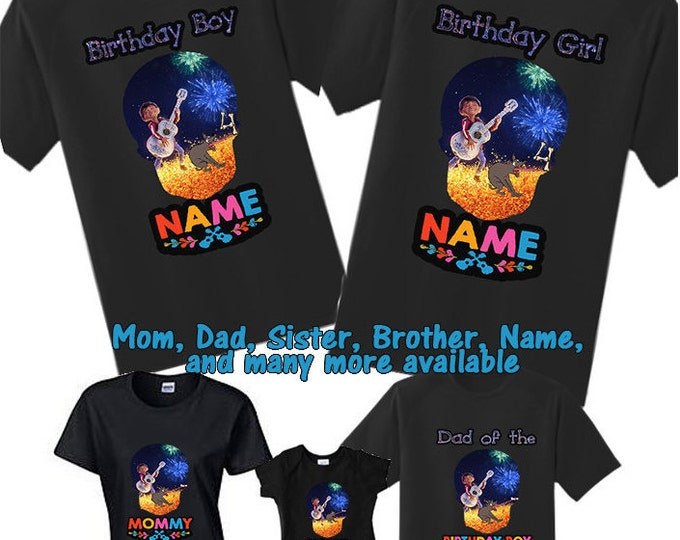 Coco Birthday Shirts Family Disney Shirt Black Custom