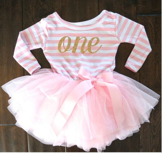 First Birthday Pink and White Dress, Pink and Gold First Birthday