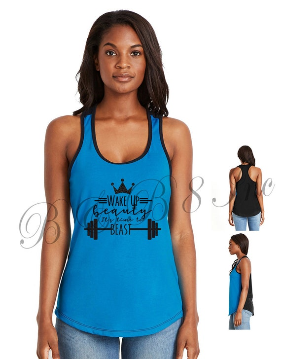 Wake Up Beauty Its Time to Beast Tank, Fitness Tank Top, Fitness shirt