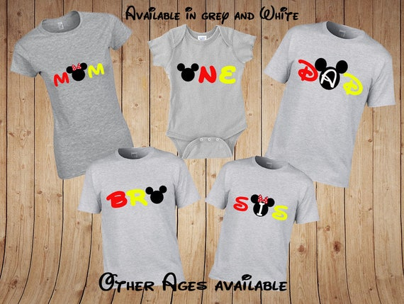 ONE Birthday, ONE Mickey Shirt, ONE Minnie Shirt, Family Birthday Mickey Mouse Shirts, Family Disney Shirts, Family Mickey Birthday Shirts