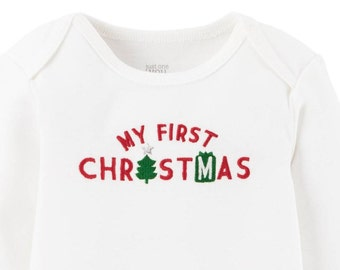 My First Christmas Onesie-Red & Green Print