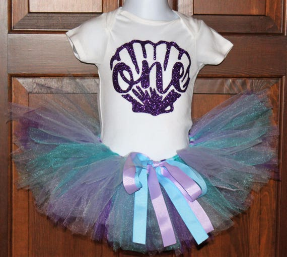 Mermaid Birthday, Mermaid First Birthday Outfit, Mermaid Tutu, Purple First Birthday Bodysuit, Purple and Teal Tutu, Purple Headband
