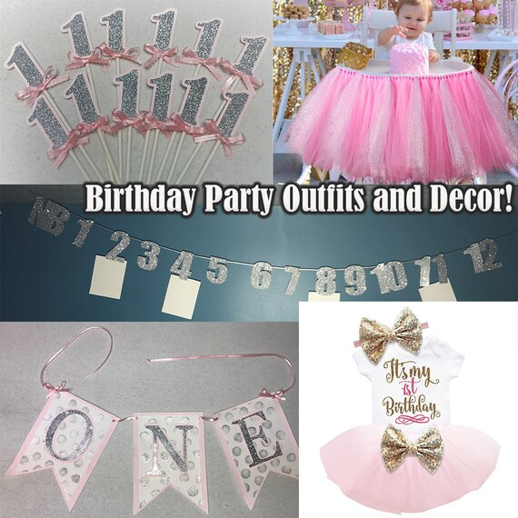 1st Birthday, Birthday Party Banner, Cupcake toppers, Birthday Outfit, Month Banner, Highchair tutu, Table Tutu, ONE banner, Custom Birthday