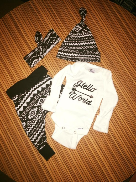 Hello World Infant Outfit, Comin home outfit, Infant Pants, Knot Tie Headband, Hello World bodysuit, Knot Tie Hat